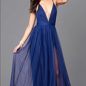 Elegant Blue Tulle V-neck Prom Dress • Worn ONCE